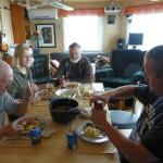 Middag på Alzheim; Jann, Marit, Hedly og Lars